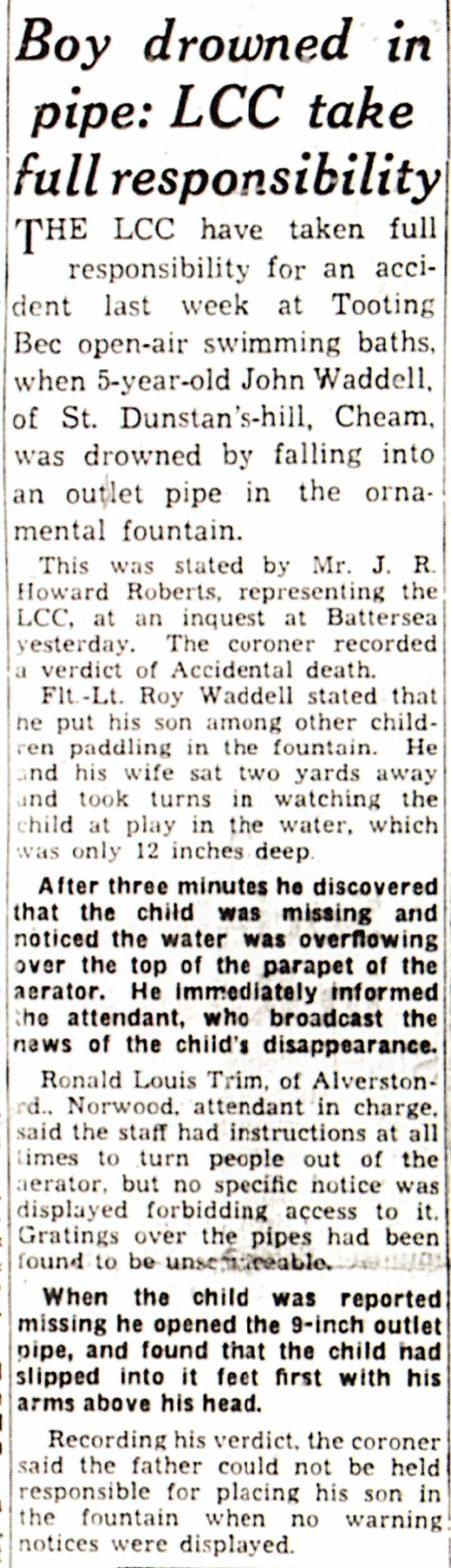 Death of 5-year old John Waddell