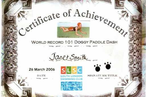 Centenary: Doggy Paddle Certificate